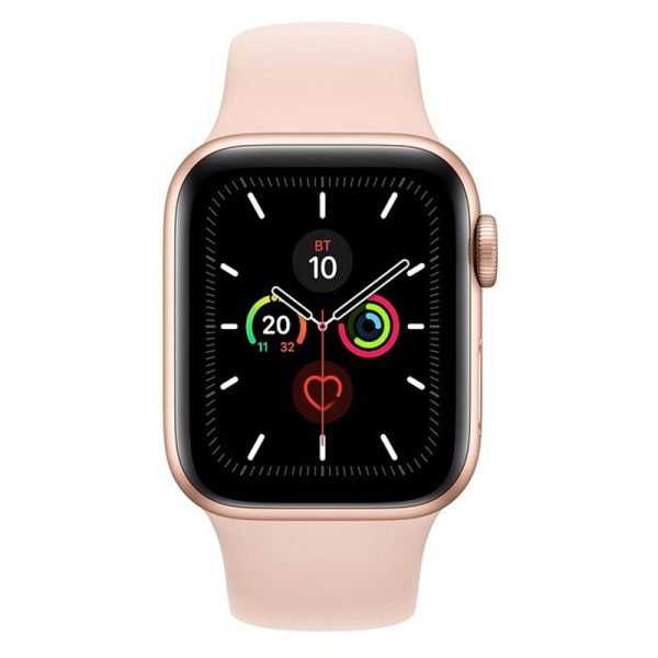 Часы Apple Watch Series 5 GPS 44mm Aluminum Case with Sport Band Gold, Pink Sand (розовый)