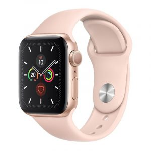 Часы Apple Watch Series 5 GPS 44mm Aluminum Case with Sport Band Gold, Pink Sand (розовый)-1