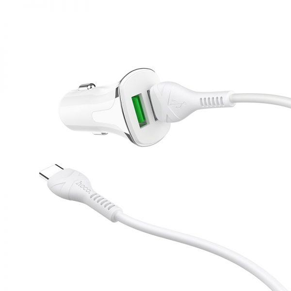 HOCO Z31 2USB + кабель Type-C QC3.0 White