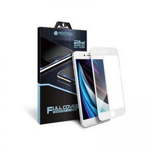 Стекло защитное для iPhone 7 / 8 белое полноразмерное закаленное MOCOLL серия Black Diamond 2.5D 2 Generation Full Cover