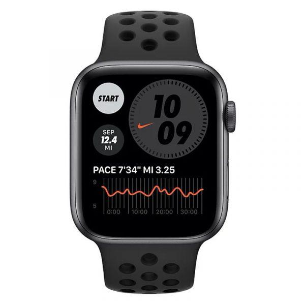 Часы Apple Watch Nike Series 6 40mm Корпус из алюминия цвета «серый космос», cпортивный ремешок Nike «Антрацитовый/чёрный» (M00X3) - 2