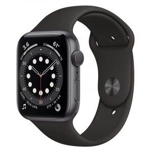 Часы Apple Watch Series 6 40mm Корпус из алюминия цвета «серый космос», cпортивный ремешок чёрный (MG133)