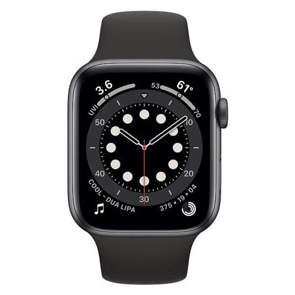 Часы Apple Watch Series 6 44mm Корпус из алюминия цвета «серый космос», cпортивный ремешок чёрный (M00H3) - 2