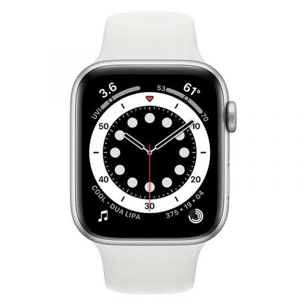 Часы Apple Watch Series 6 44mm Корпус из алюминия серебристого цвета, cпортивный ремешок белый (M00D3) - 2
