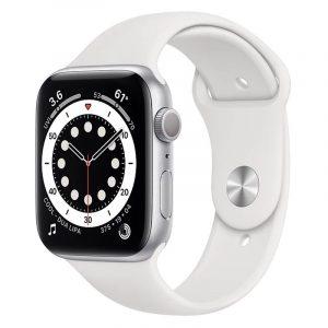 Часы Apple Watch Series 6 44mm Корпус из алюминия серебристого цвета, cпортивный ремешок белый (M00D3)