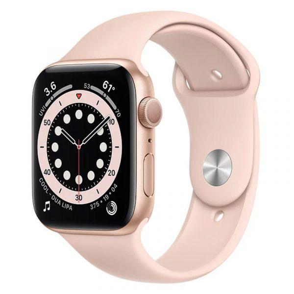 Часы Apple Watch Series 6 44mm Корпус из алюминия золотого цвета, cпортивный ремешок «Розовый песок» (M00E3) - 1