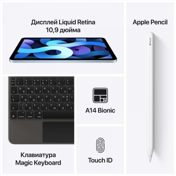 Планшет Apple iPad Air (2020) 256Gb Wi-Fi Серебристый (MYFW2) - 4