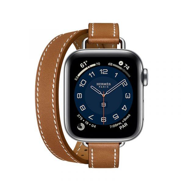Часы Apple Watch Series 6 Hermès 40mm Корпус из стали серебристого цвета, коричневый двойной кожаный ремешок (MG1V3)