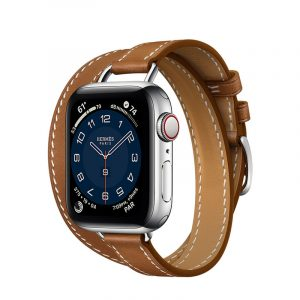 Часы Apple Watch Series 6 Hermès 40mm Корпус из стали серебристого цвета, коричневый двойной кожаный ремешок (MG1V3) - 1