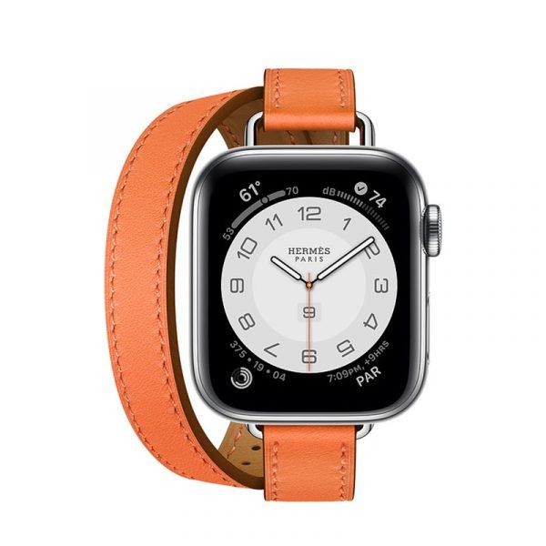 Часы Apple Watch Series 6 Hermès 40mm Корпус из стали серебристого цвета, оранжевый двойной кожаный ремешок (MG1W3)
