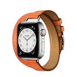 Часы Apple Watch Series 6 Hermès 40mm Корпус из стали серебристого цвета, оранжевый двойной кожаный ремешок (MG1W3) - 1