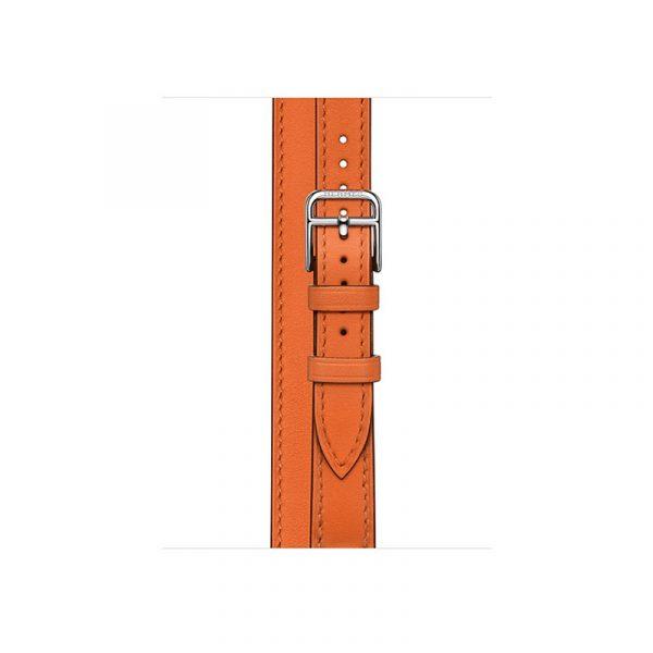 Часы Apple Watch Series 6 Hermès 40mm Корпус из стали серебристого цвета, оранжевый двойной кожаный ремешок (MG1W3) - 2