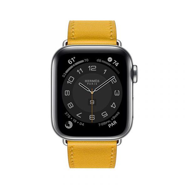 Часы Apple Watch Series 6 Hermès 40mm Корпус из стали серебристого цвета, жёлтый кожаный ремешок (MGWL3)