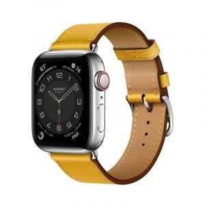 Часы Apple Watch Series 6 Hermès 40mm Корпус из стали серебристого цвета, жёлтый кожаный ремешок (MGWL3) - 1