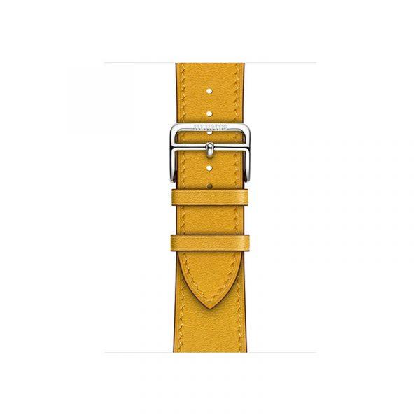 Часы Apple Watch Series 6 Hermès 40mm Корпус из стали серебристого цвета, жёлтый кожаный ремешок (MGWL3) - 2