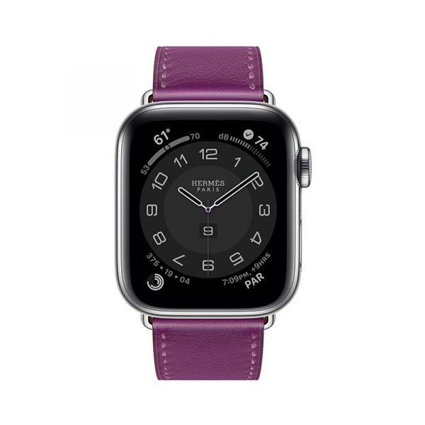 Часы Apple Watch Series 6 Hermès 40mm Корпус из стали серебристого цвета, фиолетовый кожаный ремешок (MGWN3) - 1