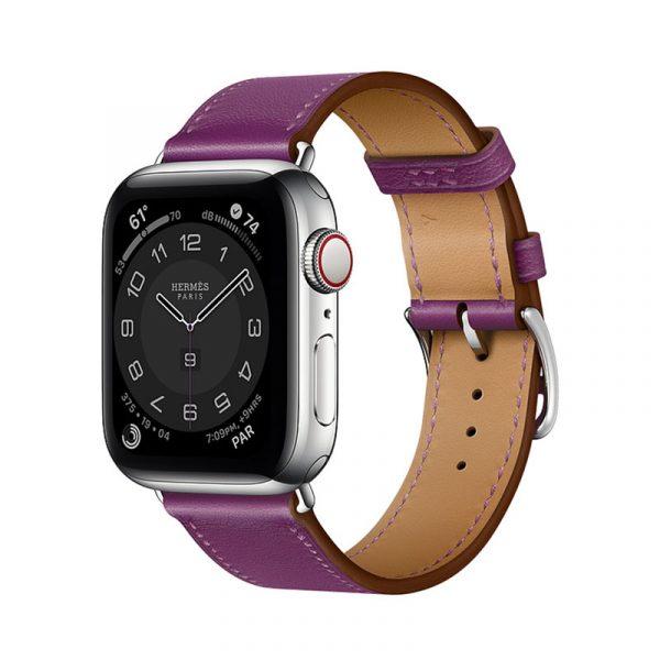 Часы Apple Watch Series 6 Hermès 40mm Корпус из стали серебристого цвета, фиолетовый кожаный ремешок (MGWN3)