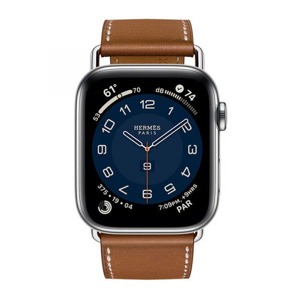 Часы Apple Watch Series 6 Hermès 44mm Корпус из стали серебристого цвета, коричневый кожаный ремешок (MG213)