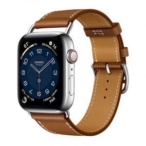 Часы Apple Watch Series 6 Hermès 44mm Корпус из стали серебристого цвета, коричневый кожаный ремешок (MG213) - 1