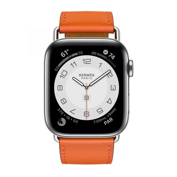 Часы Apple Watch Series 6 Hermès 44mm Корпус из стали серебристого цвета, оранжевый кожаный ремешок (MG223)
