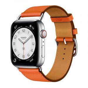 Часы Apple Watch Series 6 Hermès 44mm Корпус из стали серебристого цвета, оранжевый кожаный ремешок (MG223) - 1