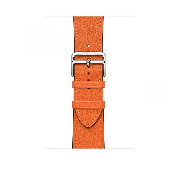 Часы Apple Watch Series 6 Hermès 44mm Корпус из стали серебристого цвета, оранжевый кожаный ремешок (MG223) - 2