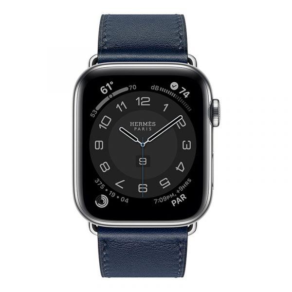 Часы Apple Watch Series 6 Hermès 44mm Корпус из стали серебристого цвета, синий кожаный ремешок (MGX03) - 1