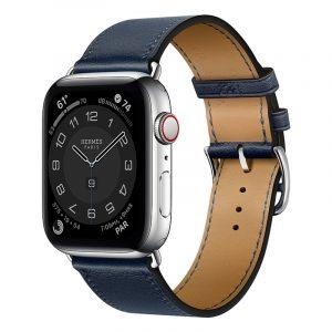 Часы Apple Watch Series 6 Hermès 44mm Корпус из стали серебристого цвета, синий кожаный ремешок (MGX03)