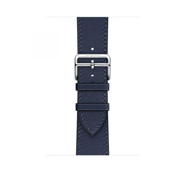 Часы Apple Watch Series 6 Hermès 44mm Корпус из стали серебристого цвета, синий кожаный ремешок (MGX03) - 2