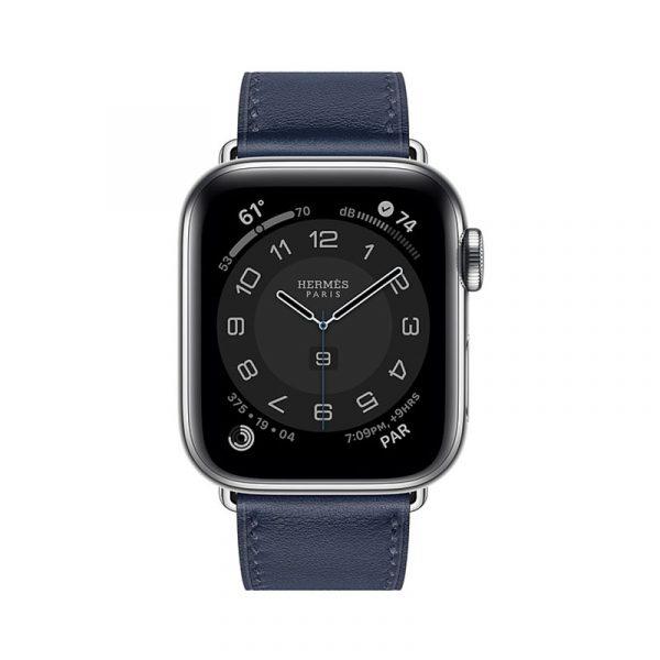 Часы Apple Watch Series 6 Hermès 40mm Корпус из стали серебристого цвета, синий кожаный ремешок (MGWM3) - 1