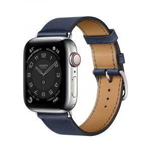 Часы Apple Watch Series 6 Hermès 40mm Корпус из стали серебристого цвета, синий кожаный ремешок (MGWM3)