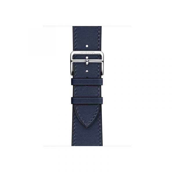 Часы Apple Watch Series 6 Hermès 40mm Корпус из стали серебристого цвета, синий кожаный ремешок (MGWM3) - 2
