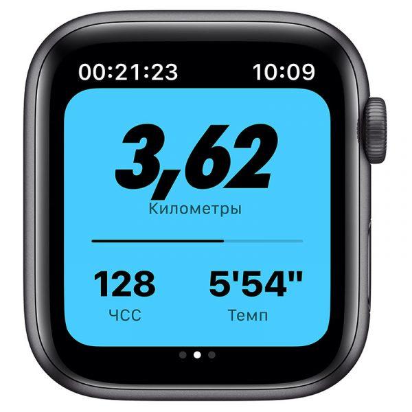 Часы Apple Watch Nike SE 44 мм корпус из алюминия цвета Серый космос, спортивный ремешок Nike цвета Антрацитовый/Чёрный-2