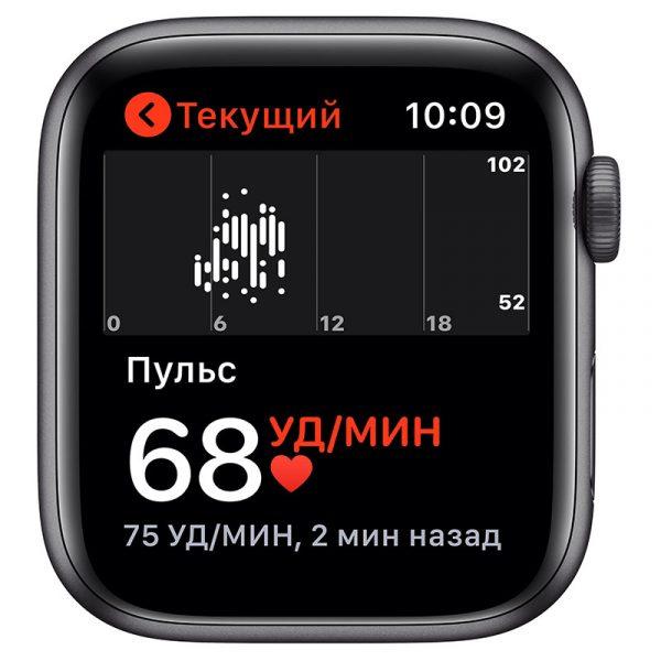 Часы Apple Watch Nike SE 44 мм корпус из алюминия цвета Серый космос, спортивный ремешок Nike цвета Антрацитовый/Чёрный-3