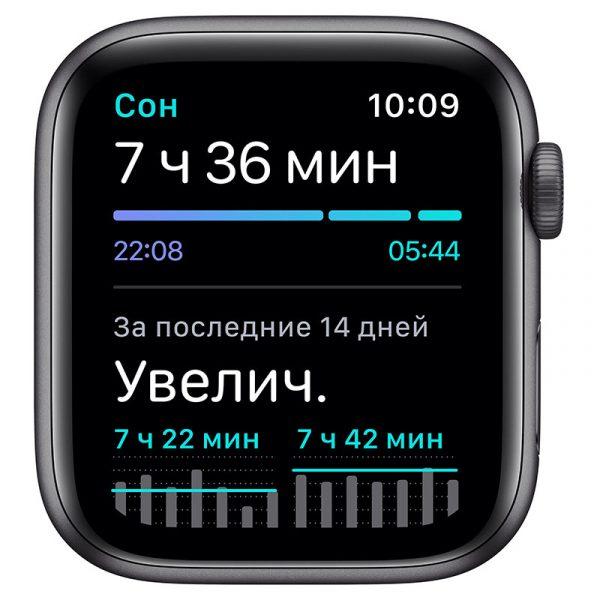 Часы Apple Watch Nike SE 44 мм корпус из алюминия цвета Серый космос, спортивный ремешок Nike цвета Антрацитовый/Чёрный-4