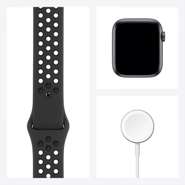 Часы Apple Watch Nike SE 44 мм корпус из алюминия цвета Серый космос, спортивный ремешок Nike цвета Антрацитовый/Чёрный-7