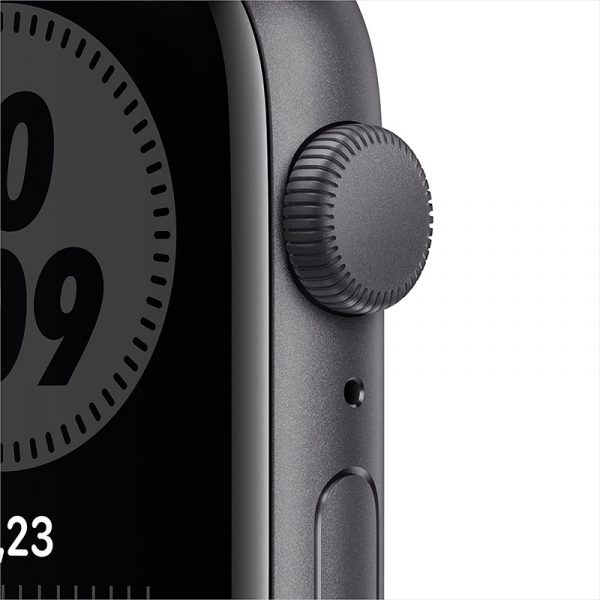 Часы Apple Watch Nike SE 44 мм корпус из алюминия цвета Серый космос, спортивный ремешок Nike цвета Антрацитовый/Чёрный-1