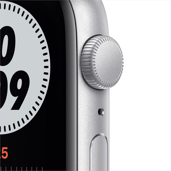 Часы Apple Watch Nike SE 44 мм корпус из алюминия серебристого цвета, спортивный ремешок Nike цвета Чистая платина/Чёрный-1