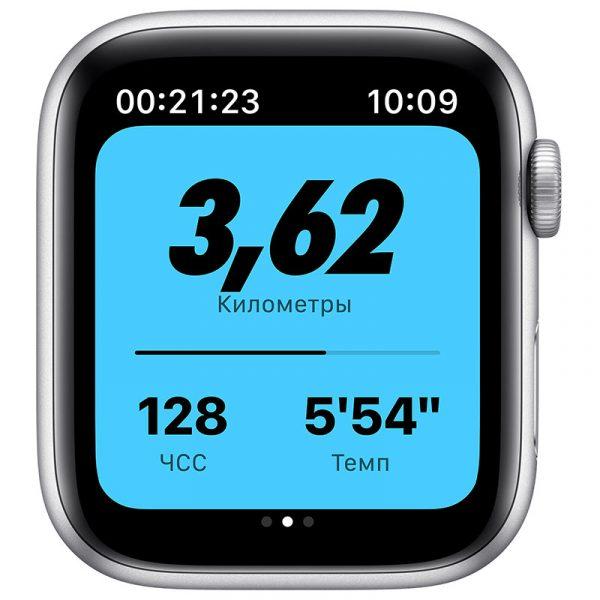 Часы Apple Watch Nike SE 44 мм корпус из алюминия серебристого цвета, спортивный ремешок Nike цвета Чистая платина/Чёрный-2