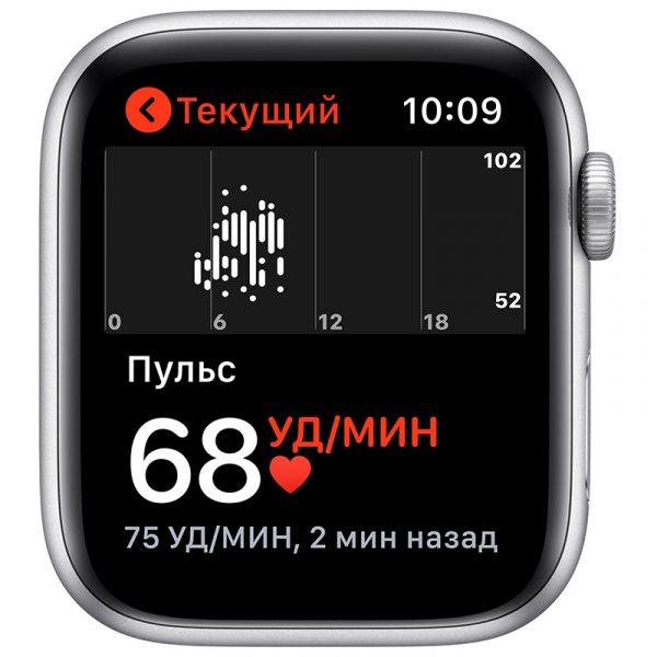 Часы Apple Watch Nike SE 44 мм корпус из алюминия серебристого цвета, спортивный ремешок Nike цвета Чистая платина/Чёрный-3