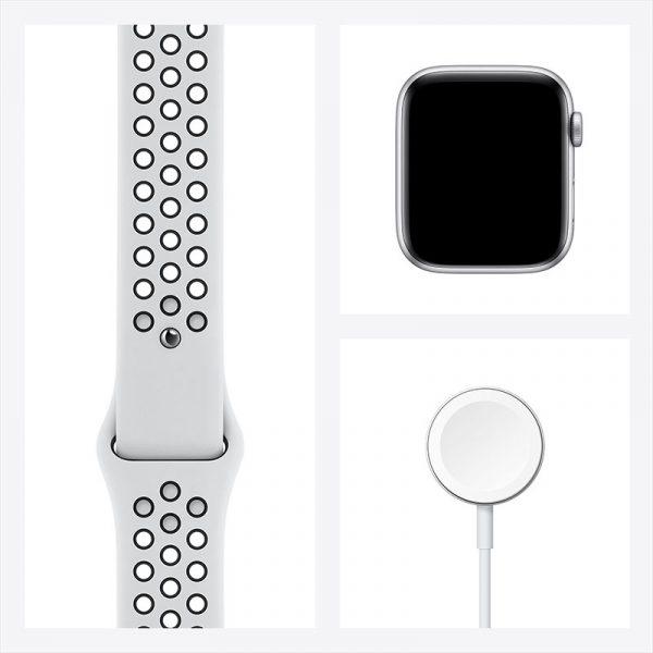 Часы Apple Watch Nike SE 44 мм корпус из алюминия серебристого цвета, спортивный ремешок Nike цвета Чистая платина/Чёрный-7