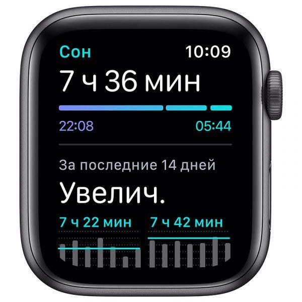 Часы Apple Watch SE 44 мм корпус из алюминия цвета Серый Космос, спортивный ремешок чёрного цвета-4