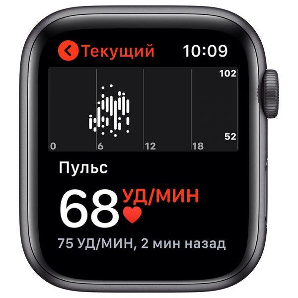 Часы Apple Watch SE 44 мм корпус из алюминия цвета Серый Космос, спортивный ремешок чёрного цвета-3
