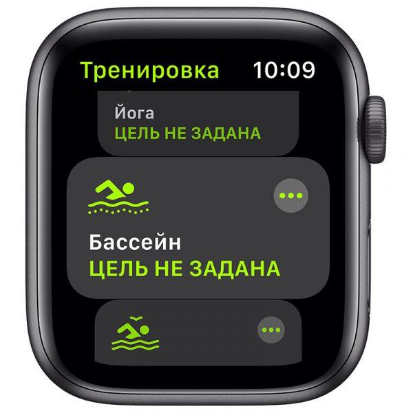 Часы Apple Watch SE 44 мм корпус из алюминия цвета Серый Космос, спортивный ремешок чёрного цвета-2