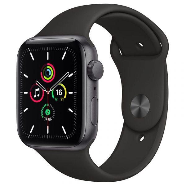 Часы Apple Watch SE 44 мм корпус из алюминия цвета Серый Космос, спортивный ремешок чёрного цвета