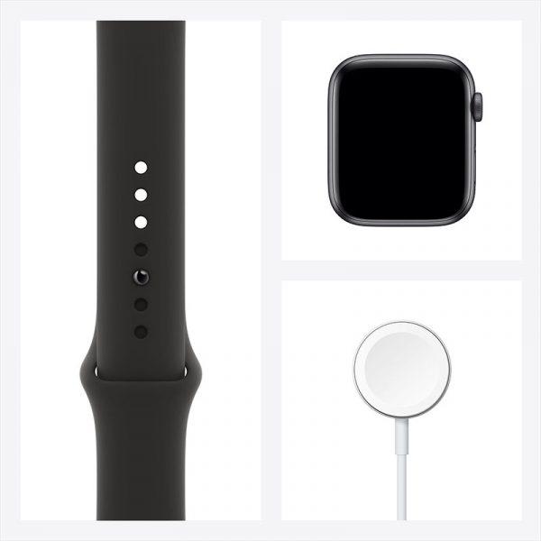 Часы Apple Watch SE 44 мм корпус из алюминия цвета Серый Космос, спортивный ремешок чёрного цвета-7