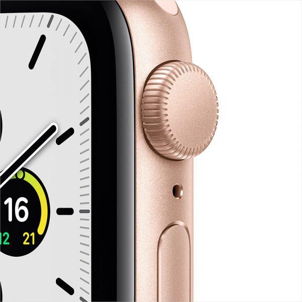 Часы Apple Watch SE 44 мм корпус из алюминия золотого цвета, спортивный ремешок цвета Розовый песок-1