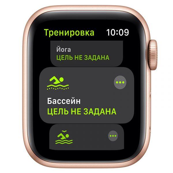 Часы Apple Watch SE 44 мм корпус из алюминия золотого цвета, спортивный ремешок цвета Розовый песок-3