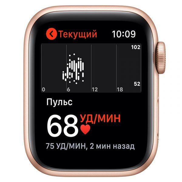 Часы Apple Watch SE 44 мм корпус из алюминия золотого цвета, спортивный ремешок цвета Розовый песок-4