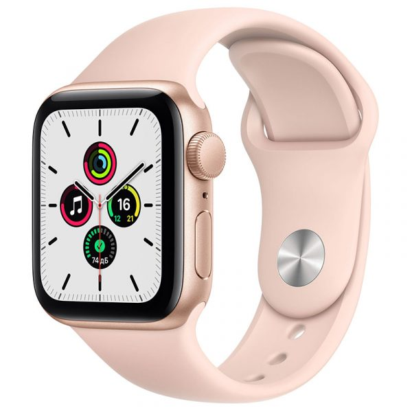 Часы Apple Watch SE 44 мм корпус из алюминия золотого цвета, спортивный ремешок цвета Розовый песок